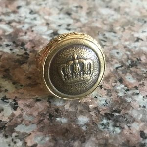 Antique WWI Military Crown Button 24K/925 Ring